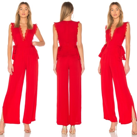 67940ca9ac3a Free People Pants - Free People CEM Lace Trim Wide Leg Jumpsuit Red